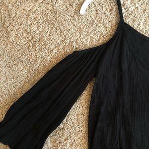 La Hearts Tops - Black cold-shoulder blouse